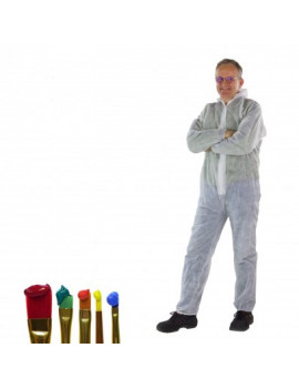 DEMA Jednodielny pracovný ochranný oblek biely 40 g/qm PP, veľkosť M