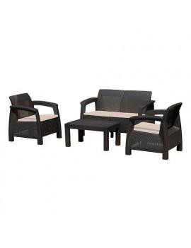 Set terasový ANTIGUA, Mocca hnedá stôl, kreslo 2+1+1