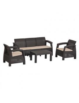 Set terasový BAHAMA, Mocca hnedá, stôl, kreslo 3+1+1