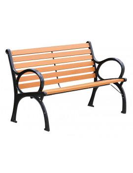 Lavička XIMENA, záhradná, kov/drevo,150x59x80 cm