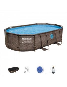 Bazén Bestway® Power Steel™, Vista Series, 56946, 488x305x107 cm, filter, rebrík, plachta, dávkovač