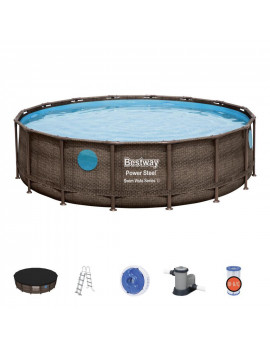 Bazén Bestway® Power Steel™, Vista Series, 56725, 488x122 cm, filter, rebrík, plachta, dávkovač