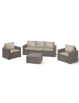 Set terasový Allibert CALIFORNIA, cappuccino/sand, stôl, 2x kreslo, 1x trojkreslo